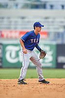 Daniel Bakst (7) of Poly Prep Country Day School in New York playing for the Texas Rangers scout team during the East Coast Pro Showcase on July 28, 2015 at George M. Steinbrenner Field in Tampa, Florida.  (Mike Janes/Four Seam Images)