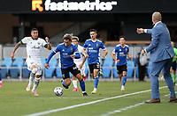 SAN JOSE, CA - MAY 15: Cade Cowell #44 of the San Jose Earthquakes moves with the ball during a game between Portland Timbers and San Jose Earthquakes at PayPal Park on May 15, 2021 in San Jose, California.