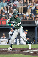 Michigan State Spartans outfielder Dan Chmielewski (21) at bat against the Michigan Wolverines during the NCAA baseball game on April 18, 2017 at Ray Fisher Stadium in Ann Arbor, Michigan. Michigan defeated Michigan State 12-4. (Andrew Woolley/Four Seam Images)