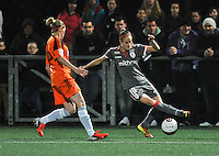 20131017 - GLASGOW , SCOTLAND :  Standard's Tessa Wullaert (right) pictured during the female soccer match between GLASGOW City Ladies FC and STANDARD Femina de Liege , in the 1/16 final ( round of 32 ) second leg in the UEFA Women's Champions League 2013 in Petershill Park in Glasgow. First leg ended in a 2-2 draw . Thursday 17 October 2013. PHOTO DAVID CATRY