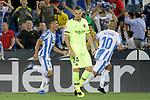 CD Leganes' Oscar Rodriguez Arnaiz (l) and Nabil El Zhar (r) celebrate goal in presence of FC Barcelona's Thomas Vermaelen dejected during La Liga match. September 26,2018. (ALTERPHOTOS/Acero)