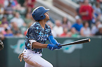 Ogden Raptors left fielder Daniel Robinson (50) starts down the first base line during a Pioneer League game against the Billings Mustangs at Lindquist Field on August 17, 2018 in Ogden, Utah. The Billings Mustangs defeated the Ogden Raptors by a score of 6-3. (Zachary Lucy/Four Seam Images)
