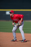 Los Angeles Angels first baseman David MacKinnon (43) during a Minor League Spring Training game against the Colorado Rockies at Tempe Diablo Stadium Complex on March 18, 2018 in Tempe, Arizona. (Zachary Lucy/Four Seam Images)