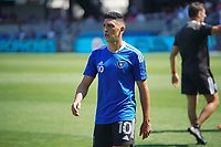 SAN JOSE, CA - AUGUST 8: Cristian Espinoza #10 of the San Jose Earthquakes before a game between Los Angeles FC and San Jose Earthquakes at PayPal Park on August 8, 2021 in San Jose, California.