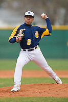 Starting pitcher Esterlin Paulino #8 of the North Carolina A&T Aggies in action versus the High Point Panthers at War Memorial Stadium March 16, 2010, in Greensboro, North Carolina.  Photo by Brian Westerholt / Four Seam Images