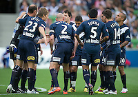 MELBOURNE, AUSTRALIA - DECEMBER 11: Melbourne Victory players prepare for the kickoff at the round 18 A-League match between the Melbourne Heart and Melbourne Victory at AAMI Park on December 11, 2010 in Melbourne, Australia. (Photo by Sydney Low / Asterisk Images)