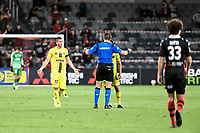 15th March 2021; Bankwest Stadium, Parramatta, New South Wales, Australia; A League Football, Western Sydney Wanderers versus Wellington Phoenix; Tomer Hemed of Wellington Phoenix cannot understand why his goal is disallowed by referee Shaun Evans after a VAR decision