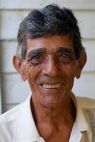Portrait of a senior tobacco farmer smiling, Vinales, Pinar del Rio Province, Cuba.