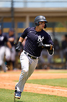 FCL Yankees Antonio Gomez (55) runs to first base during a game against the FCL Tigers on June 28, 2021 at Tigertown in Lakeland, Florida.  (Mike Janes/Four Seam Images)