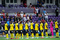 ORLANDO, FL - JULY 20: Jamaica National Team stands for the anthem during a game between Costa Rica and Jamaica at Exploria Stadium on July 20, 2021 in Orlando, Florida.