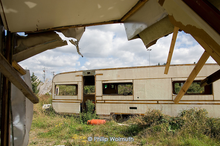 Empty and vandalised Travellers' trailers on a pitch at the site of the London 2012 Olympic Games in Stratford.