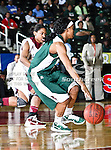 Mississippi Valley State Devilettes guard Kanesha Smith (3) in action during the SWAC Tournament game between the Mississippi Valley State Devilettes and the Alabama A&M Bulldogs at the Special Events Center in Garland, Texas. Mississippi Valley State defeats Alabama A & M 52 to 51