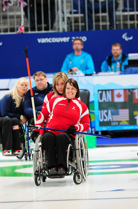 Ina Forrest and Sonja Gaudet, Vancouver 2010 - Wheelchair Curling // Curling en fauteuil roulant.<br /> Team Canada competes in Wheelchair Curling // Équipe Canada participe en curling en fauteuil roulant. 13/03/2010.