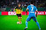 09.08.2019, Merkur Spiel-Arena, Düsseldorf, GER, DFB Pokal, 1. Hauptrunde, KFC Uerdingen vs Borussia Dortmund , DFB REGULATIONS PROHIBIT ANY USE OF PHOTOGRAPHS AS IMAGE SEQUENCES AND/OR QUASI-VIDEO<br /> <br /> im Bild | picture shows:<br /> Lukasz Piszczek (Borussia Dortmund #26) vor Christian Dorda (KFC Uerdingen #7) am Ball, <br /> <br /> Foto © nordphoto / Rauch