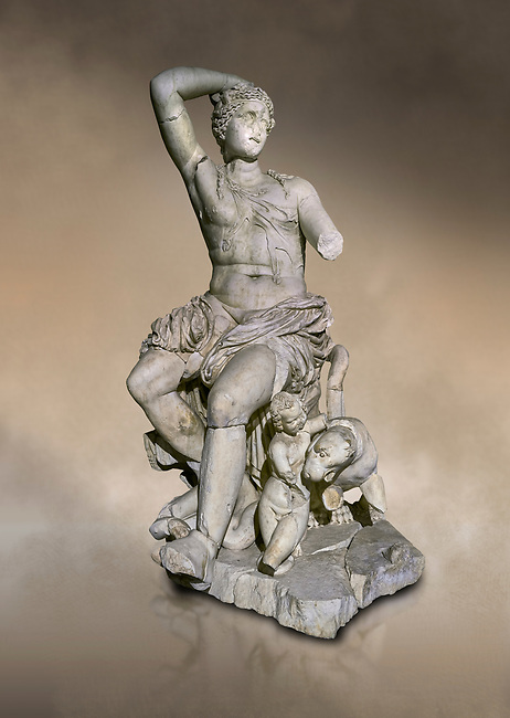 Roman statue of Dionysus. Marble. Perge. 2nd century AD. Inv no . Antalya Archaeology Museum; Turkey. Against a warm art background.<br /> <br /> Dionysus  is the god of the grape-harvest, winemaking and wine, of fertility, ritual madness, religious ecstasy, and theatre in ancient Greek religion and myth.