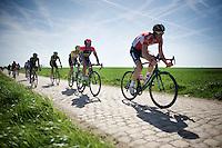 Stig Broeckx (BEL/Lotto-Soudal) over sector 26: Viesly à Quiévy (1.8km)<br /> <br /> 113th Paris-Roubaix 2015