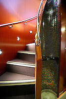 This unique stairway connects the upper and lower levels of the Alaska Railroad's Goldstar first-class train car.