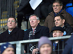 St Johnstone v Aberdeen.....07.12.13    SPFL<br /> Sir Alex Ferguson pictuired alongside Roddy Grant and Chairman Steve Brown. He was invited by St Johnstone FC to mark the 50th anniversary of a famous game in the club's history when a young 'Fergie' scored hat-trick against Rangers at Ibrox on the 21st December 1963. Saints winning the game 3-2<br /> Picture by Graeme Hart.<br /> Copyright Perthshire Picture Agency<br /> Tel: 01738 623350  Mobile: 07990 594431