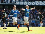 Nicky Law celebrates with Tom Walsh as he scores goal no 3 for Rangers