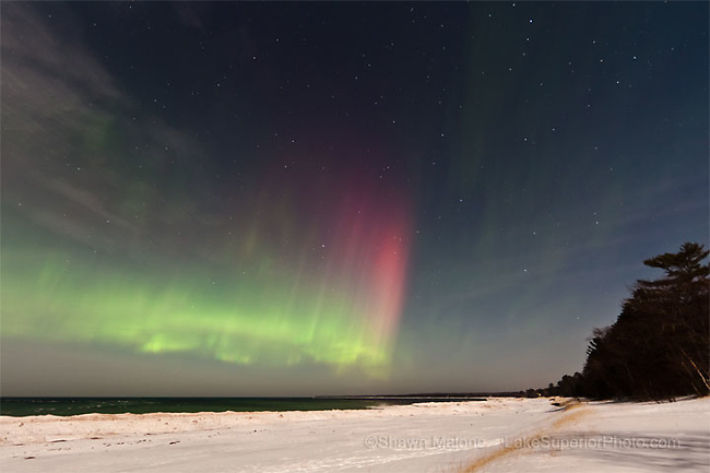 The aurora borealis northern lights over Lake Superior, Marquette MI, Upper Peninsula of Michigan, photo featured on CNET March 13,2012, Spaceweather.com 03/07/2012