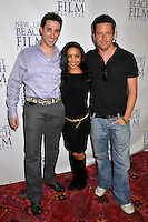 """PAUL J. ALESSI, producer/actor, DANIELLE NICOLET & ROSS McCALL .""""Knuckle Draggers"""" Premiere at the 2009 Newport Beach Film Festival held at Edwards Cinemas, Newport Beach, CA, USA..April 27th, 2009.full length black top purple shirt dress jeans denim grey gray trousers .CAP/ADM/BP.©Byron Purvis/AdMedia/Capital Pictures."""