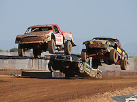 Apr 17, 2011; Surprise, AZ USA; LOORRS driver Rodrigo Ampudia (36) leads Greg Adler (10) during round 4 at Speedworld Off Road Park. Mandatory Credit: Mark J. Rebilas-