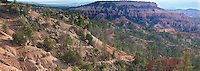 904000016 panoramic view of early morning lighting up the hoodoos as tourists on horseback begin the descent into the canyon from sunrise point in bryce canyon national park utah united states