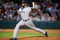 Colorado Springs Sky Sox relief pitcher Andrew Barbosa (44) delivers a pitch during a game against the Oklahoma City Dodgers on June 2, 2017 at Chickasaw Bricktown Ballpark in Oklahoma City, Oklahoma.  Colorado Springs defeated Oklahoma City 1-0 in ten innings.  (Mike Janes/Four Seam Images)