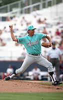 Florida Marlins pitcher Charlie Hough (49) during Spring Training 1993 at Chain of Lakes Park in Winter Haven, Florida.  (MJA/Four Seam Images)