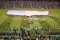 Pre-game ceremonies at Rio Tinto Stadium prior to the Real Salt Lake vs New York Red Bulls 1-1 draw at Rio Tinto Stadium in Sandy, Utah. Photo by Eric Salsbery/isiphotos.com