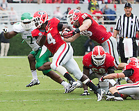 The Georgia Bulldogs played North Texas Mean Green at Sanford Stadium.  After North Texas tied the game at 21 early in the second half, the Georgia Bulldogs went on to score 24 unanswered points to win 45-21.  Georgia Bulldogs running back Keith Marshall (4)