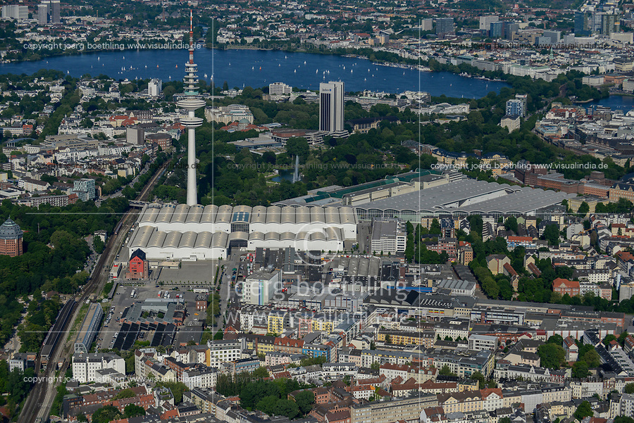 GERMANY, Hamburg, aerial view of Schanzenviertel with exhibitions hall, TV tower and alster lake