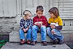 Kids playing with the chicks, San Luis Obispo, California