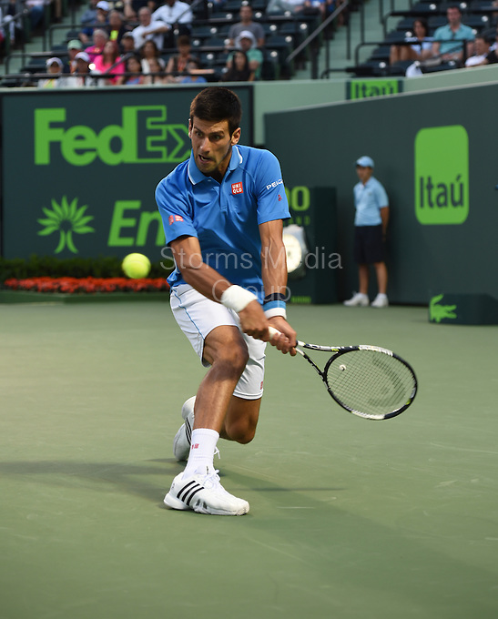KEY BISCAYNE, FL - APRIL 02: Novak Djokovic of Serbia defeats David Ferrer of Spain in their quarter final during the Miami Open Presented by Itau at Crandon Park Tennis Center on April 2, 2015 in Key Biscayne, Florida<br /> <br /> <br /> People:  Novak Djokovic<br /> <br /> Transmission Ref:  FLXX<br /> <br /> Must call if interested<br /> Michael Storms<br /> Storms Media Group Inc.<br /> 305-632-3400 - Cell<br /> 305-513-5783 - Fax<br /> MikeStorm@aol.com