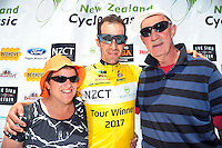 Tour champion Joe Cooper with his parents Maria (left) and Graham after stage five of the NZ Cycle Classic UCI Oceania Tour in Masterton, New Zealand on Tuesday, 26 January 2017. Photo: Dave Lintott / lintottphoto.co.nz