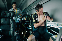 pre-race vibes on the Mitchelton-Scott teambus: Mathew Hayman (AUS/Mitchelton-Scott) getting ready<br /> <br /> Stage 6: Brest > Mûr de Bretagne / Guerlédan (181km)<br /> <br /> 105th Tour de France 2018<br /> ©kramon
