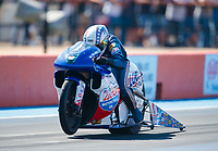 Oct 19, 2019; Ennis, TX, USA; NHRA pro stock motorcycle rider Hector Arana Jr during qualifying for the Fall Nationals at the Texas Motorplex. Mandatory Credit: Mark J. Rebilas-USA TODAY Sports