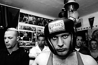 Heavy weight Nikita Basin, 21, an immigrant from the former Soviet Union stands in the corner before the fight during the Jerusalem Cup, March 9, 2007, at the Jerusalem Boxing Club. The club has 150 members with a majority of Israelis and a minority of Palestinians ( 15 boxers).