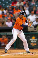 Houston Astros outfielder Rick Ankiel (28) at bat during the MLB baseball game against the Detroit Tigers on May 3, 2013 at Minute Maid Park in Houston, Texas. Detroit defeated Houston 4-3. (Andrew Woolley/Four Seam Images).