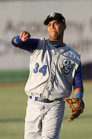 Alexis Aguilar #34 of the Rancho Cucamonga Quakes before a game against the Lancaster JetHawks at Clear Channel Stadium on August 22, 2012 in Lancaster, California. Rancho Cucamonga defeated Lancaster 8-7. (Larry Goren/Four Seam Images)