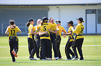 Thamsyn Newton celebartes catching Natalie Dodd during the women's Hallyburton Johnstone Shield one-day cricket match between the Wellington Blaze and Central Hinds at Donnelly Park in Levin, New Zealand on Sunday, 6 December 2020. Photo: Dave Lintott / lintottphoto.co.nz