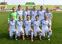 20190227 - LARNACA , CYPRUS :  Slovakian team with Alexandra Biroova (5) , Patricia Fischerova (7) , Klaudia Fabova (8) , Lucia Ondrusova (10) , Patricia Hmirova (11) , Maria Korenciova (12) , Petra Zdechovanova (14) , Diana Bartovicova (16) , Dominika Skovankova (18) , Andrea Horvathova (20) and Martina Surnovska (21) pictured posing for the teampicture during a women's soccer game between the Belgian Red Flames and Slovakia , on Wednesday 27 February 2019 at the AEK Arena in Larnaca , Cyprus . This is the first game in group C for Belgium during the Cyprus Womens Cup 2019 , a prestigious women soccer tournament as a preparation on the Uefa Women's Euro 2021 qualification duels. PHOTO SPORTPIX.BE | DAVID CATRY