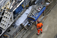 "- Milano cantiere per la costruzione della nuova linea 4 ""Blu"" della Metropolitana, la ""talpa meccanica"" predisposta per lo scavo della galleria sotto il centro cittadino<br />