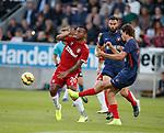 08.08.2019 FC Midtjylland v Rangers: Alfredo Morelos and Rsamus Nicolaisen