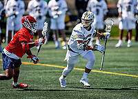 1 May 2021: University of Vermont Catamount Attacker Michael McCormack, a Graduate Student from Williamstown, MA, in action against the Stony Brook University Seawolves at Virtue Field in Burlington, Vermont. The Cats edged out the Seawolves 14-13 with less than one second to play in their America East Men's Lacrosse matchup. McCormack finished the regular season with 17 goals, making the America East All-Conference First Team. Mandatory Credit: Ed Wolfstein Photo *** RAW (NEF) Image File Available ***