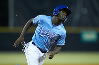 David Hollie (23) of the Burlington Royals hustles around third base during the game against the Johnson City Cardinals at Burlington Athletic Stadium on September 3, 2019 in Burlington, North Carolina. The Cardinals defeated the Royals 7-2 to even Appalachian League Championship series at one game a piece. (Brian Westerholt/Four Seam Images)