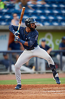Mobile BayBears Jo Adell (25) at bat during a Southern League game against the Mobile BayBears on July 25, 2019 at Hank Aaron Stadium in Pensacola, Florida.  Pensacola defeated Mobile 2-1 in the first game of a doubleheader.  (Mike Janes/Four Seam Images)