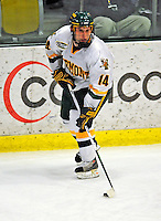 9 January 2009: University of Vermont Catamounts' forward Brian Roloff, a Junior from West Seneca, NY, starts a rush during the first game of a weekend series against the Boston College Eagles at Gutterson Fieldhouse in Burlington, Vermont. The Catamounts scored with one second remaining in regulation time to earn a 3-3 tie with the visiting Eagles. Mandatory Photo Credit: Ed Wolfstein Photo