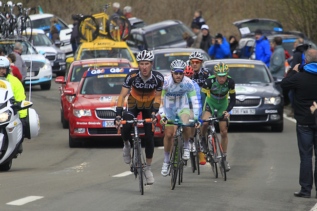 The breakaway group led by Gregory Habeaux (BEL) Accent Jobs-Willems Veranda's, Simon Greschke (GER) Argos Shimano, Alessandro Bazzana (ITA) Team Type 1-Sanofi, Kevin Ista (BEL) Accent Jobs-Willems Veranda's, Dario Cataldo (ITA) Omega Pharma-Quick Step and Reinier Honig (NED) Landbouwkrediet-Euphony climb Cote de la Roche-en-Ardenne during the 98th edition of Liege-Bastogne-Liege, running 257.5km from Liege to Ans, Belgium. 22nd April 2012.  <br /> (Photo by Eoin Clarke/NEWSFILE).