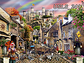 Lori, LANDSCAPES, LANDSCHAFTEN, PAISAJES, paintings+++++Medieval Village Puzzle_72,USLS241,#l#, EVERYDAY ,puzzle,puzzles
